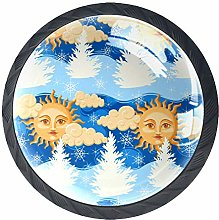 4 Pack 35MM Cabinet Knobs Sun with Face and Cloud