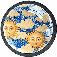 4 Pack 35MM Cabinet Knobs Sun with Face Cloud Star