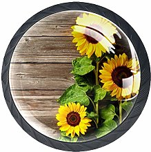 4 Pack 35MM Cabinet Knobs Sunflower with Green