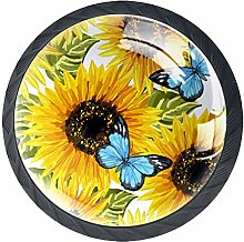 4 Pack 35MM Cabinet Knobs Sunflowers with Blue