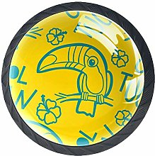 4 Pack 35MM Cabinet Knobs Toucan and Hibiscus,