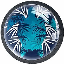 4 Pack 35MM Cabinet Knobs Turtle with Palm Leaves,