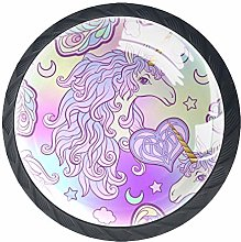 4 Pack 35MM Cabinet Knobs Unicorn with Pink Purple