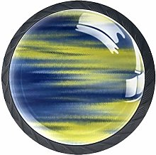 4 Pack 35MM Cabinet Knobs Yellow Shadow, Round