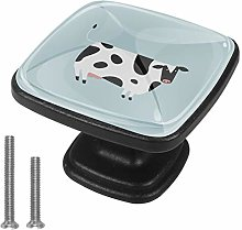 4 Pack Black Cabinet Hardware Cartoon Cow Square