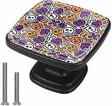 4 Pack Black Cabinet Hardware Color Skull Square