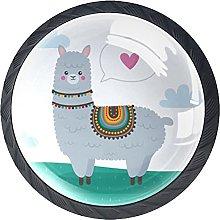 4 Pack Cabinet Door Knobs Alpaca with Love Cute