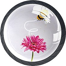 4 Pack Cabinet Door Knobs Bee with Pink Daisy,