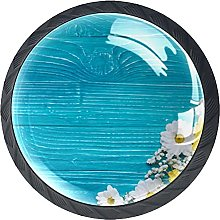 4 Pack Cabinet Door Knobs Blue Wooden with Fowers,