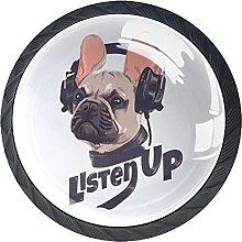 4 Pack Cabinet Door Knobs Bulldog with Headphone,