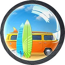 4 Pack Cabinet Door Knobs Bus with Surf Boards,