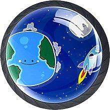 4 Pack Cabinet Door Knobs Cartoon Earth with