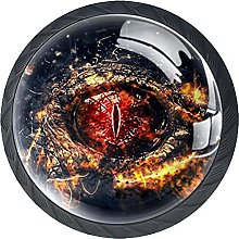 4 Pack Cabinet Door Knobs Chinese Dragon Blood Eye