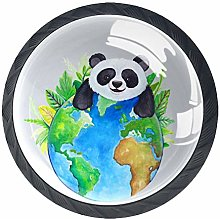 4 Pack Cabinet Door Knobs Cute Panda with Earth,