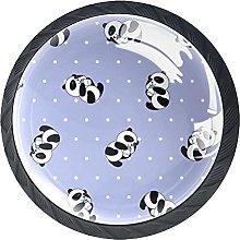 4 Pack Cabinet Door Knobs Cute Panda with White