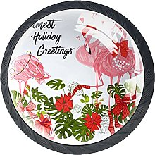 4 Pack Cabinet Door Knobs Flamingo with Christmas