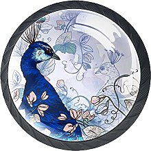 4 Pack Cabinet Door Knobs Floral with Peacock,