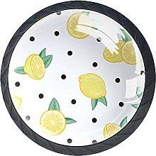 4 Pack Cabinet Door Knobs Fruit Lemon with Dot,