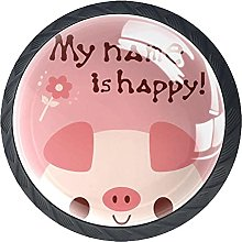 4 Pack Cabinet Door Knobs Funny Pig My Name is
