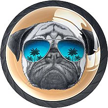4 Pack Cabinet Door Knobs Funny Pug Dog with