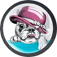 4 Pack Cabinet Door Knobs Funny Pug with Hat, 35mm