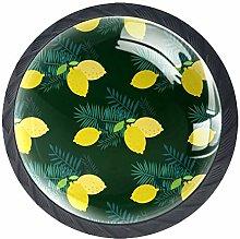 4 Pack Cabinet Door Knobs Lemon with Leaves, 35mm
