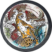 4 Pack Cabinet Door Knobs Retro Chinse Dragon with