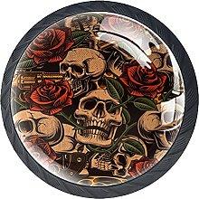 4 Pack Cabinet Door Knobs Skull with Rose Vintage,