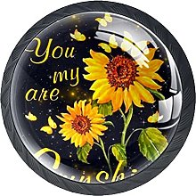 4 Pack Cabinet Door Knobs Sunflower You are My