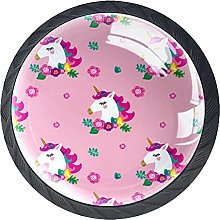 4 Pack Cabinet Door Knobs Unicorn Pattern with