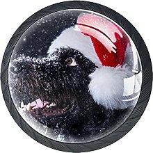 4 Pack Cabinet Door Knobs Winter Snow Dog with