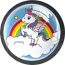 4 Pack Drawer Knobs Unicorn with Wings Crystal