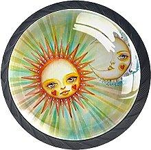 4 Pack Kitchen Cabinet Drawer Door Knobs, Sun Moon