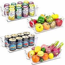 4 Pack Kitchen Organizer Bins, Large Clear Plastic