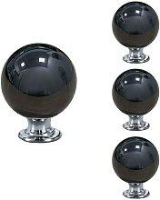 4 Pack of Black Drawer Knobs Round Ceramic Pull