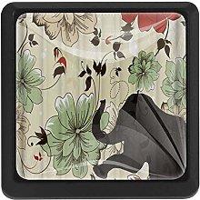 4 Pack Round Cabinet Hardware Knob Motley Flowers