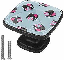4 Pack Square Drawer Handles Elephant Blue Pink