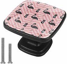 4 Pack Square Drawer Handles Flamingo Stripe Pink