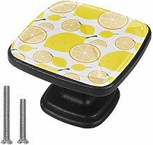 4 Pack Square Drawer Handles Lemon Yellow Wardrobe