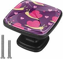 4 Pack Square Drawer Handles Pink Snail Wardrobe