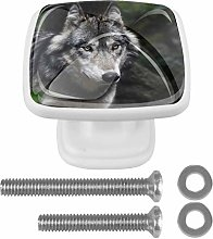 4 Pack Square Drawer Handles Wolf Gray Animal