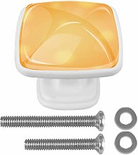 4 Pack White Cabinet Hardware Orange Light Shadow