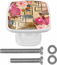 4 Packs Cabinet Door Knobs with Screws,Square