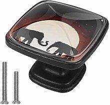 4 Packs Drawer Knobs Elephant Moon Shadow Hand
