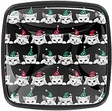 4 Packs Kitchen Cabinet Knobs,Cats with Christmas