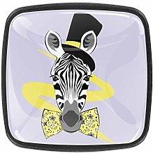 4 Packs Kitchen Cabinet Knobs,Fashion Zebra Face