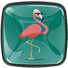 4 Packs Kitchen Cabinet Knobs,Funny Flamingo with