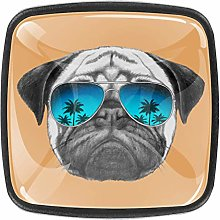 4 Packs Kitchen Cabinet Knobs,Funny Pug Dog with