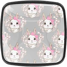 4 Packs Kitchen Cabinet Knobs,Girl Rabbit with