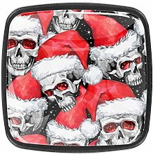 4 Packs Kitchen Cabinet Knobs,Skull with Christmas